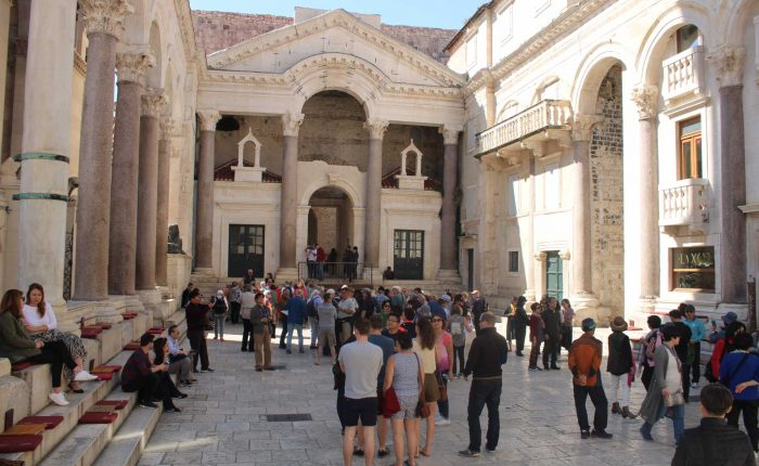 Peristyle Split People tourists on Split Walking Tour